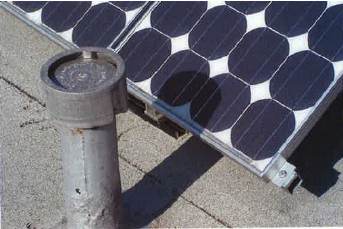 shadows on even small section of solar panel array weakens the total output