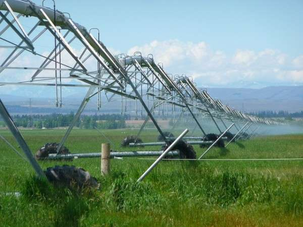This irrigation equipment, a common type of farm equipment, uses a lot of power.