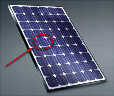 photo of solar cell, circled, is one part of solar panel