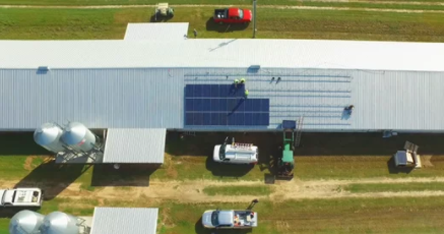 screenshot of video about the durrence poultry farm solar project