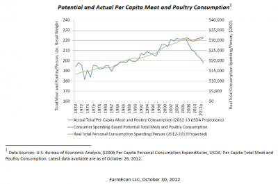 graph showing how renewable fuel standard led to lower poultry consumption