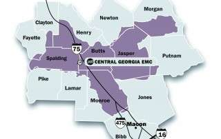 Central Georgia EMC territory map for residences who qualify for solar rebate